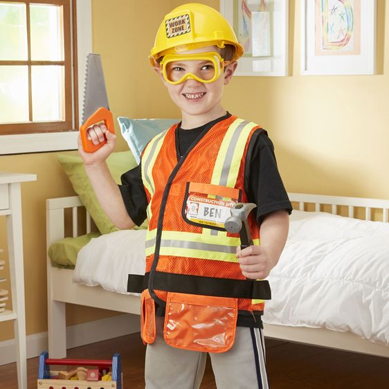 Young Boy in Role Play Construction