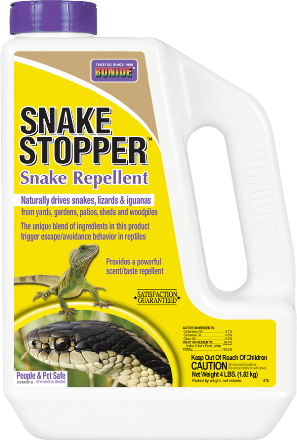 875 Snake Stopper Repellent 4# found at your hobby farm, pet supply, and animal feed stores